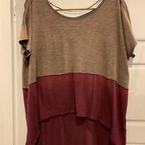Free people high low brown and red top